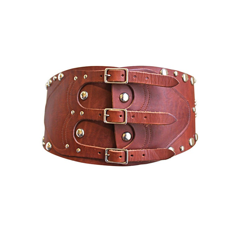 1970 s ralph leather corset belt with silver