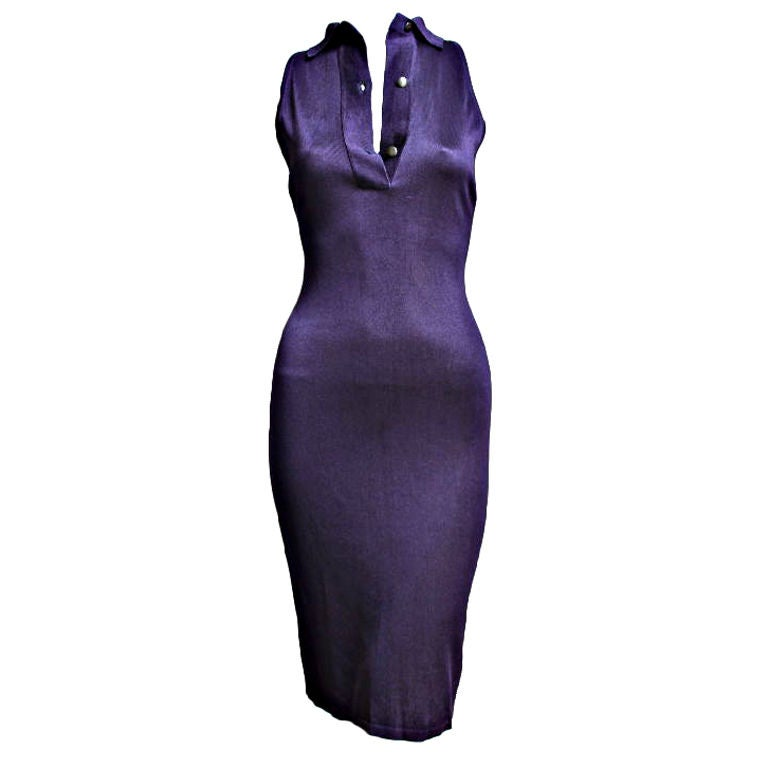 1980's AZZEDINE ALAIA purple dress with collar