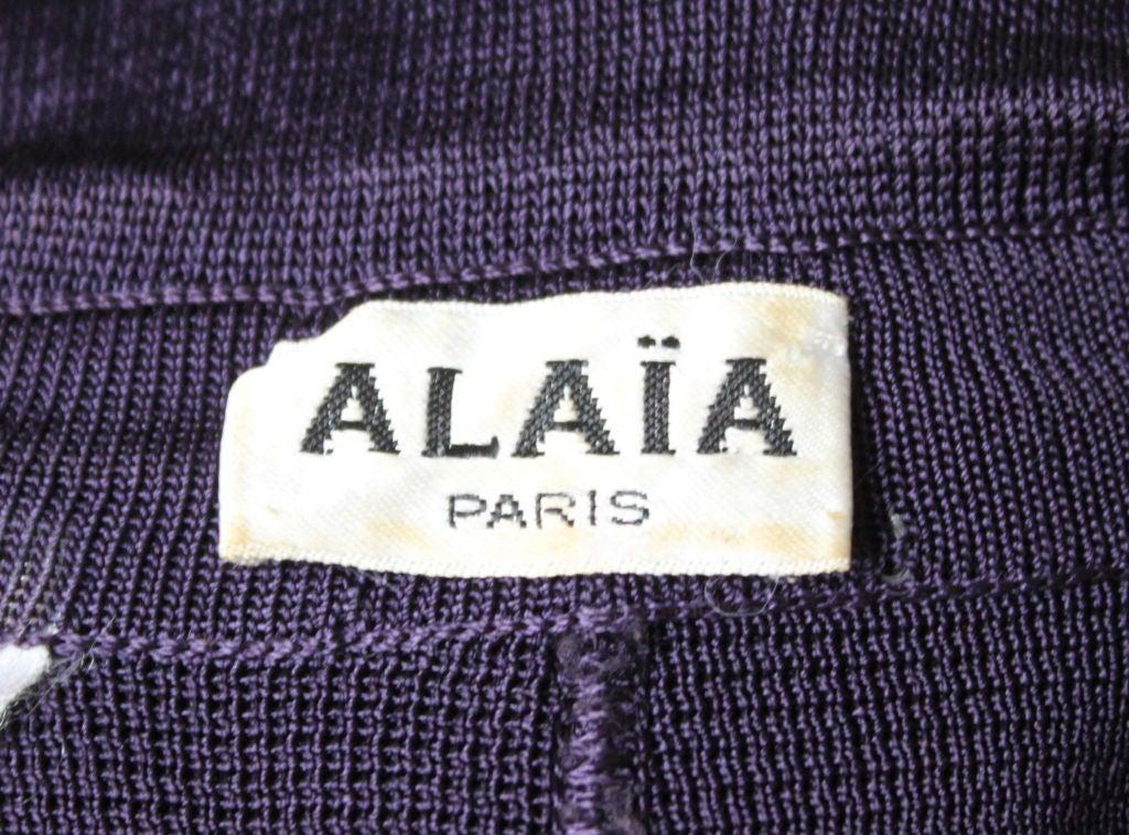 1980's AZZEDINE ALAIA purple dress with collar image 3