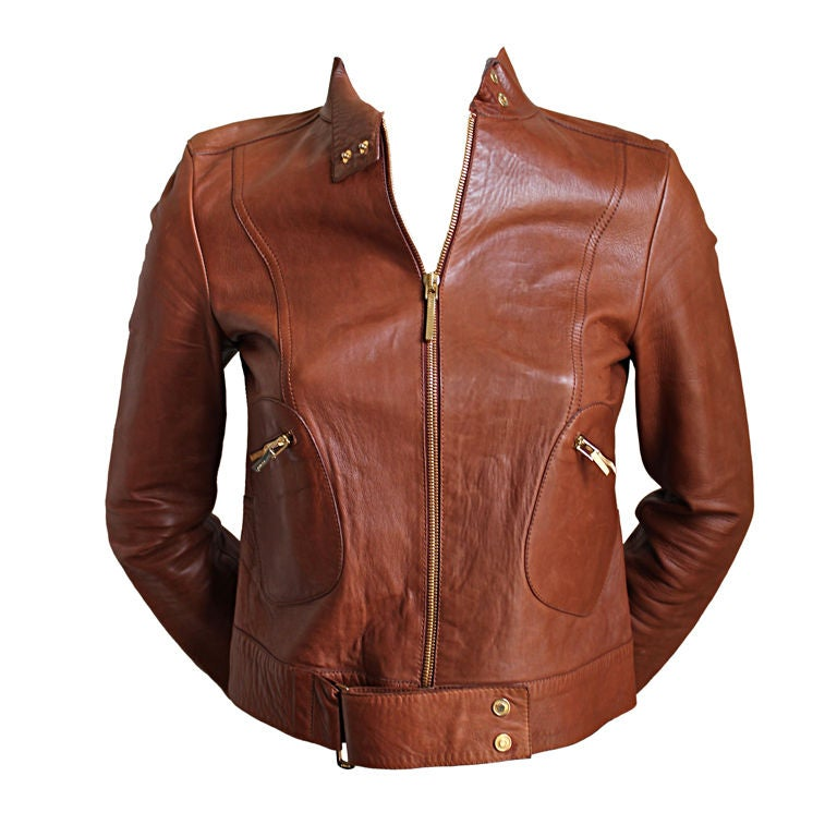 TOM FORD for GUCCI cognac lambskin leather jacket 1