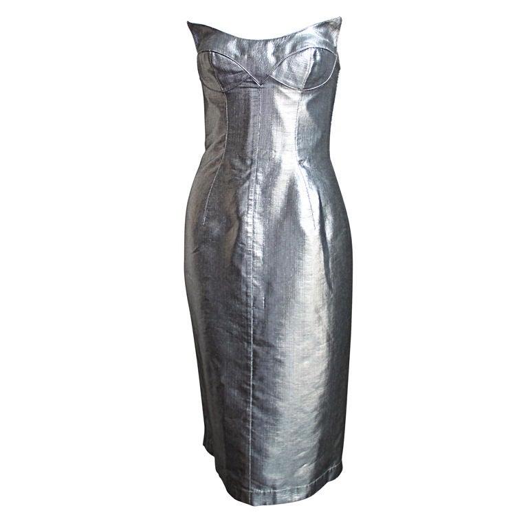 THIERRY MUGLER couture metallic silver sculptured dress - 1989 1