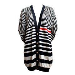 1980's CHANEL oversized striped cardigan with gilt buttons