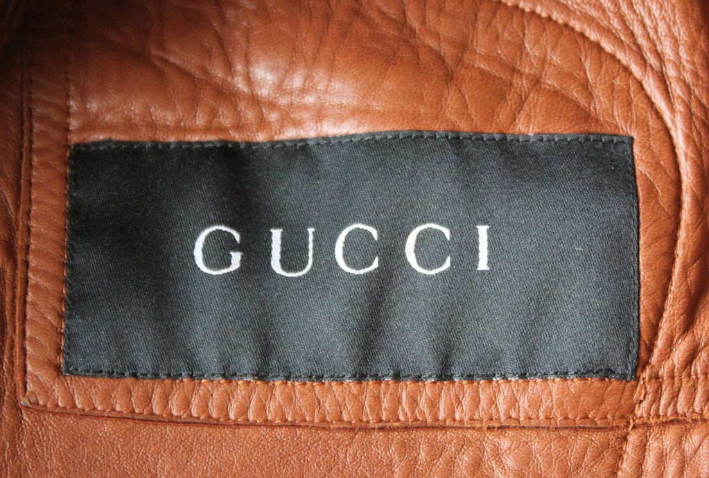 TOM FORD for GUCCI cognac lambskin leather jacket 2