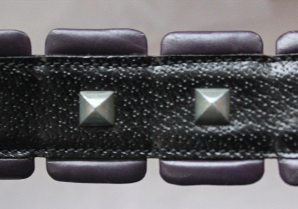 80's AZZEDINE ALAIA black & purple leather belt with metal studs 2