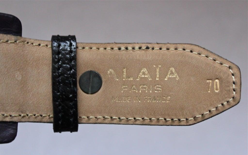 80's AZZEDINE ALAIA black & purple leather belt with metal studs 3