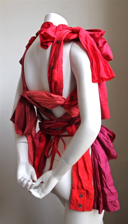 Red MARTIN MARGIELA 2008 artisanal silk top made of shirt sleeves For Sale