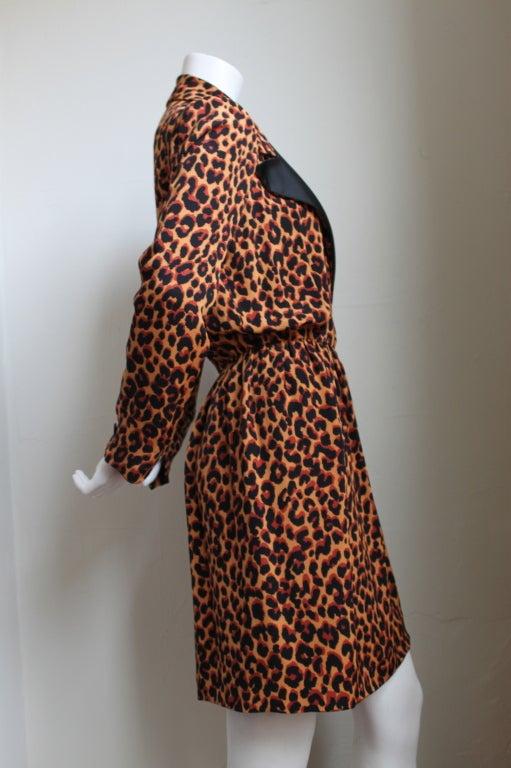 Black YVES SAINT LAURENT silk tuxedo dress with leopard print For Sale