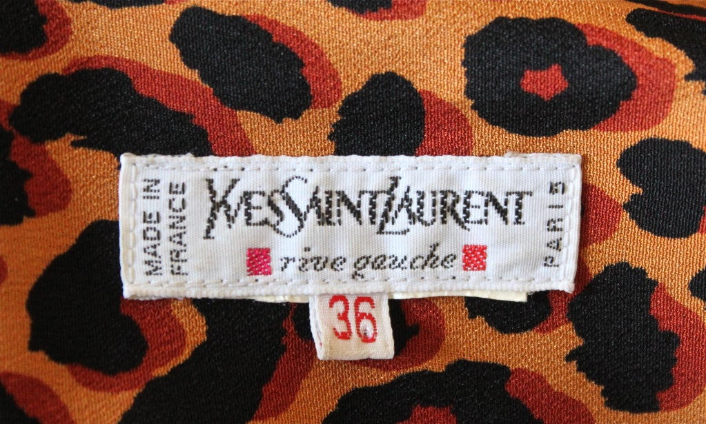 Women's YVES SAINT LAURENT silk tuxedo dress with leopard print For Sale