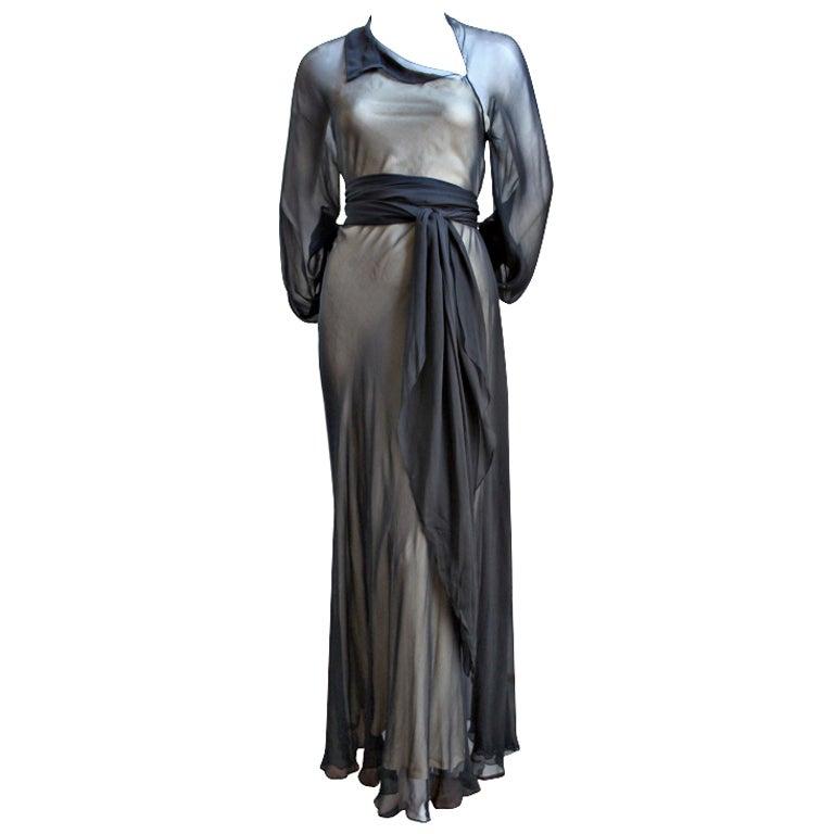 1970's HALSTON navy silk chiffon asymmetrical gown with sash For Sale