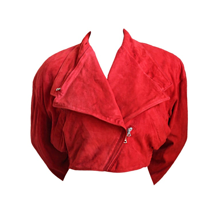 GIANNI VERSACE red suede jacket