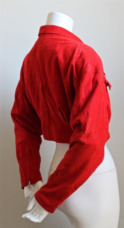 GIANNI VERSACE red suede jacket image 2