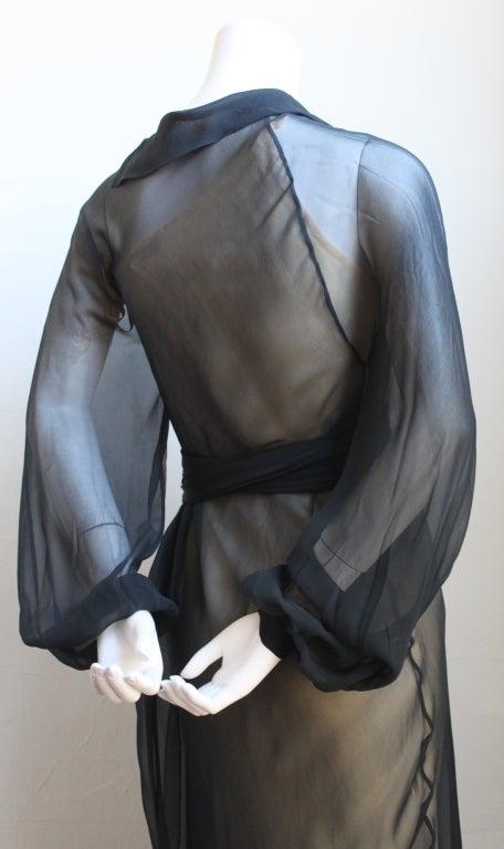 Women's 1970's HALSTON navy silk chiffon asymmetrical gown with sash For Sale