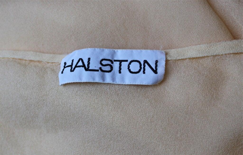 1970's HALSTON navy silk chiffon asymmetrical gown with sash For Sale 1