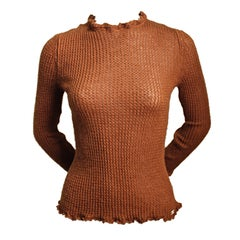 CHANEL rust lightweight cashmere sweater with ruffled trim