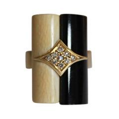 1970's H.STERN 18k gold ring with bone, onyx & diamonds