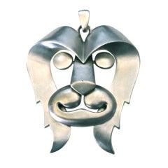 very rare 1970's PIERRE CARDIN pewter 'leo' lion pendant