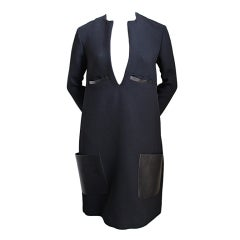 unworn CELINE by Phoebe Philo black dress with leather pockets