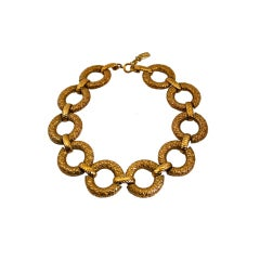 1980's YVES SAINT LAURENT gilt textured link necklace