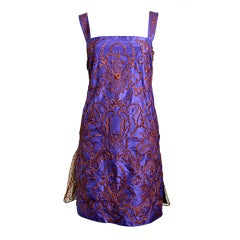 VALENTINO heavily embroidered silk dress with tulle