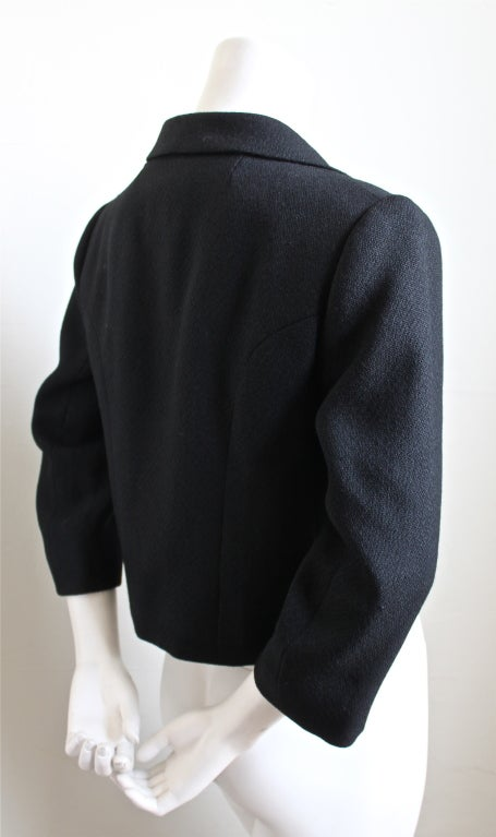 Black 1950's BALENCIAGA haute couture black jacket with large buttons For Sale