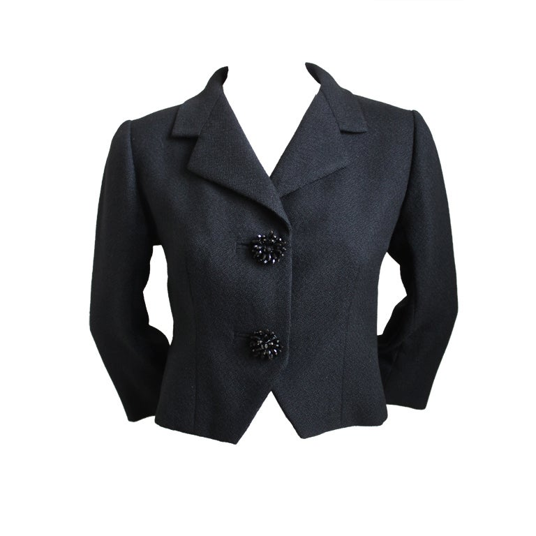 1950's BALENCIAGA haute couture black jacket with large buttons For Sale