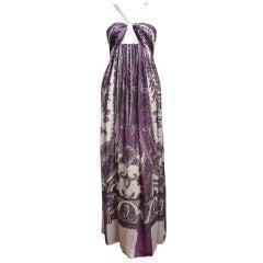 ROBERTO CAVALLI silk paisley printed metallic floor length gown