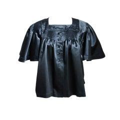 70's OSSIE CLARK QUORUM pleated black satin jacket WAS $475 NOW $225