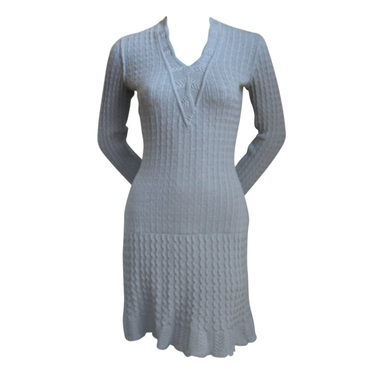AZZEDINE ALAIA blue croched knit dress with flounced sleeves For Sale
