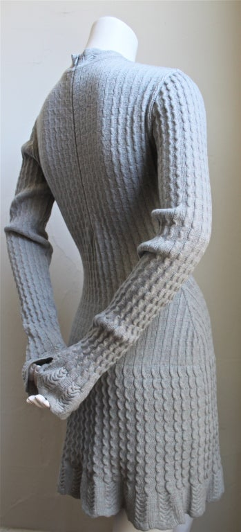 Women's AZZEDINE ALAIA blue croched knit dress with flounced sleeves For Sale