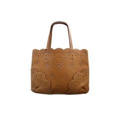 1990's AZZEDINE ALAIA leather laser cut leather bag