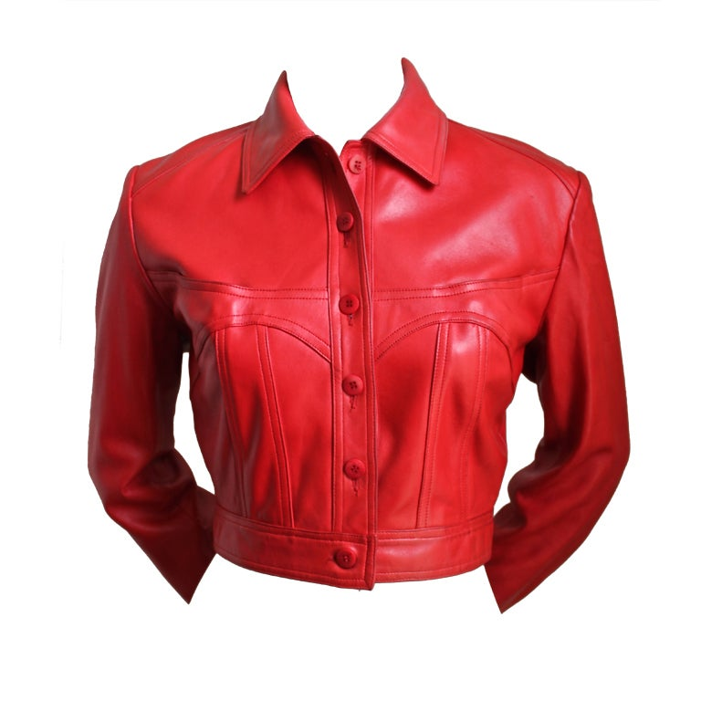 1980's AZZEDINE ALAIA red leather jacket with sweetheart seams For Sale