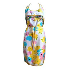 *SALE* GEOFFREY BEENE floral halter dress with sequined flowers