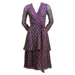 1970's THEA PORTER floral cotton voile tiered dress