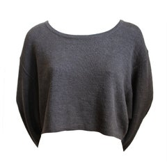 AZZEDINE ALAIA taupe oversized linen cropped sweater