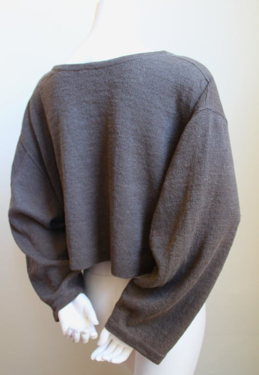 AZZEDINE ALAIA taupe oversized linen cropped sweater 2