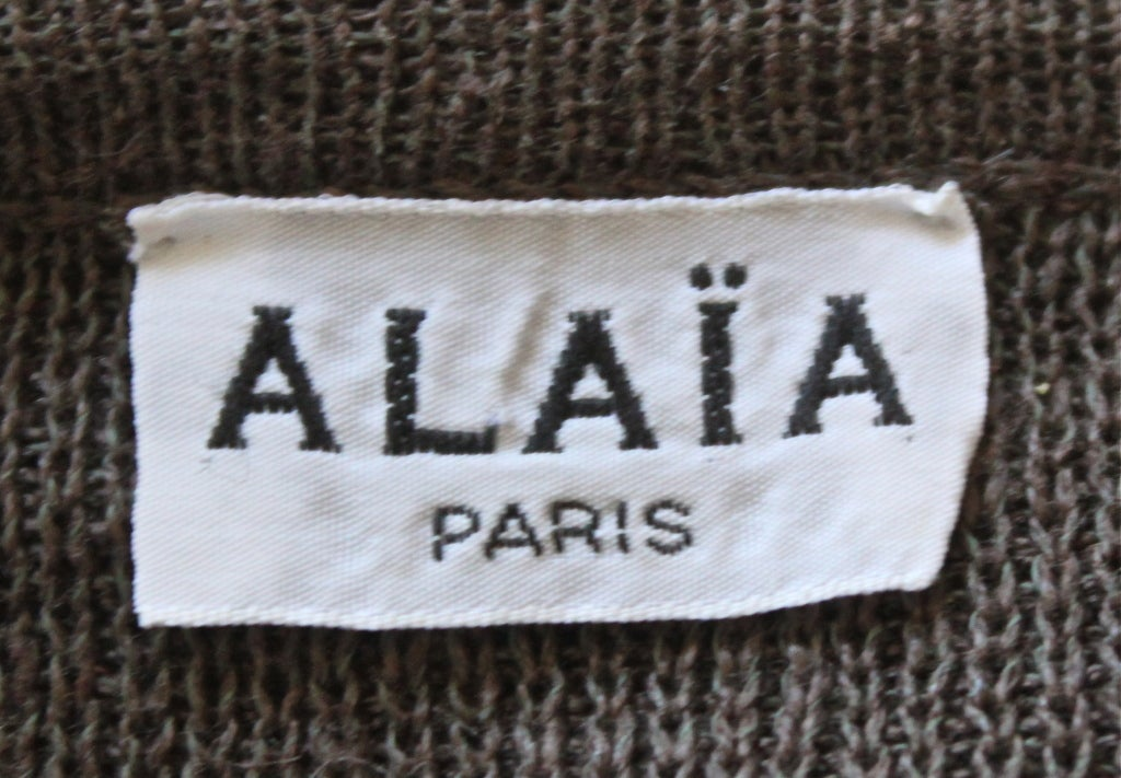 AZZEDINE ALAIA taupe oversized linen cropped sweater 3