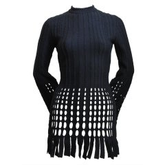 AZZEDINE ALAIA black fringed mini dress - 1991