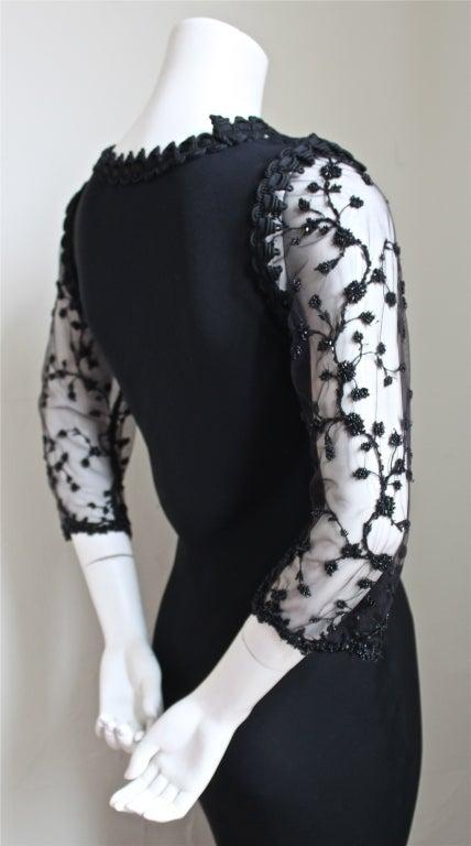 Black YVES SAINT LAURENT silk mousseline bias cut gown with beading