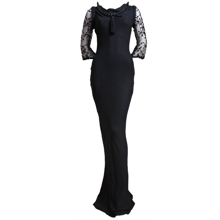 YVES SAINT LAURENT silk mousseline bias cut gown with beading For Sale