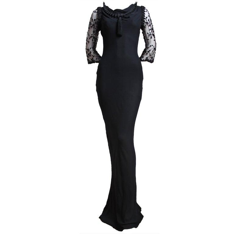 YVES SAINT LAURENT silk mousseline bias cut gown with beading