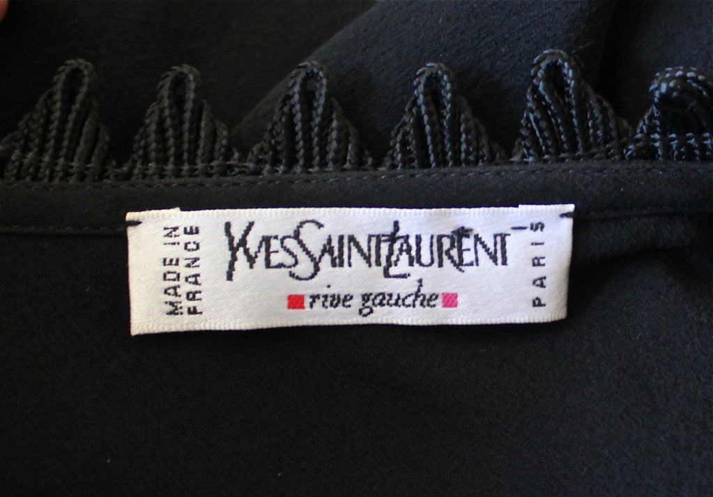 YVES SAINT LAURENT silk mousseline bias cut gown with beading In Excellent Condition For Sale In San Francisco, CA
