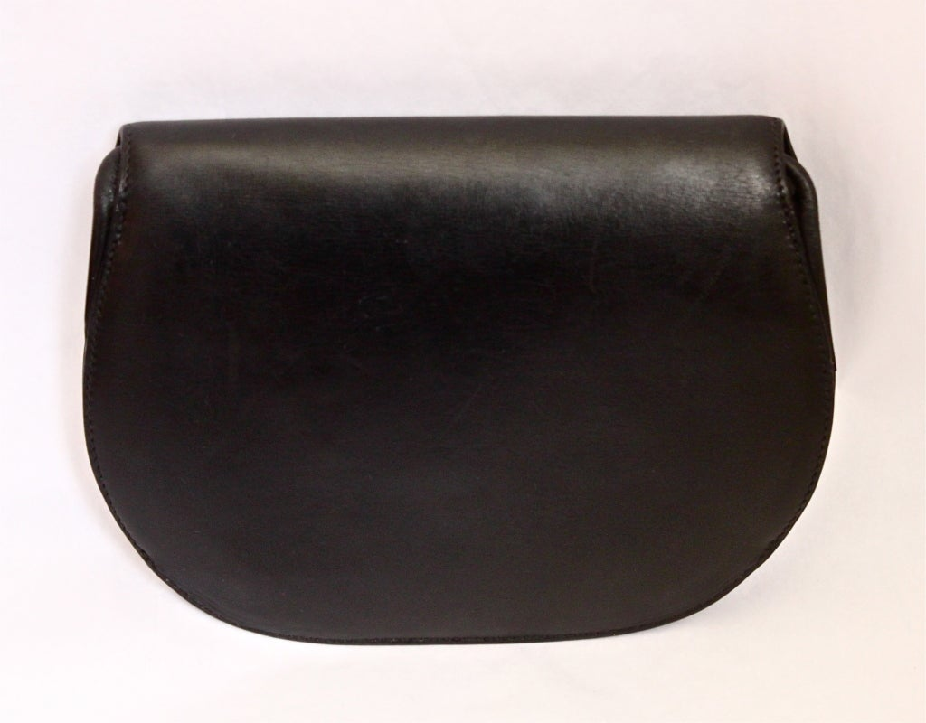 Women's 1970's HERMES black leather convertible bag