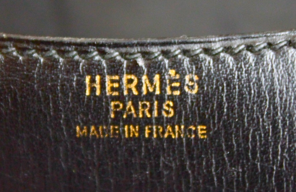 1970's HERMES black leather convertible bag 1