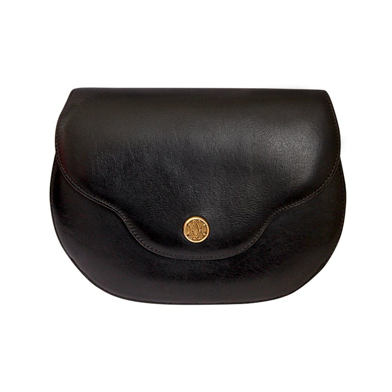 1970's HERMES black leather convertible bag