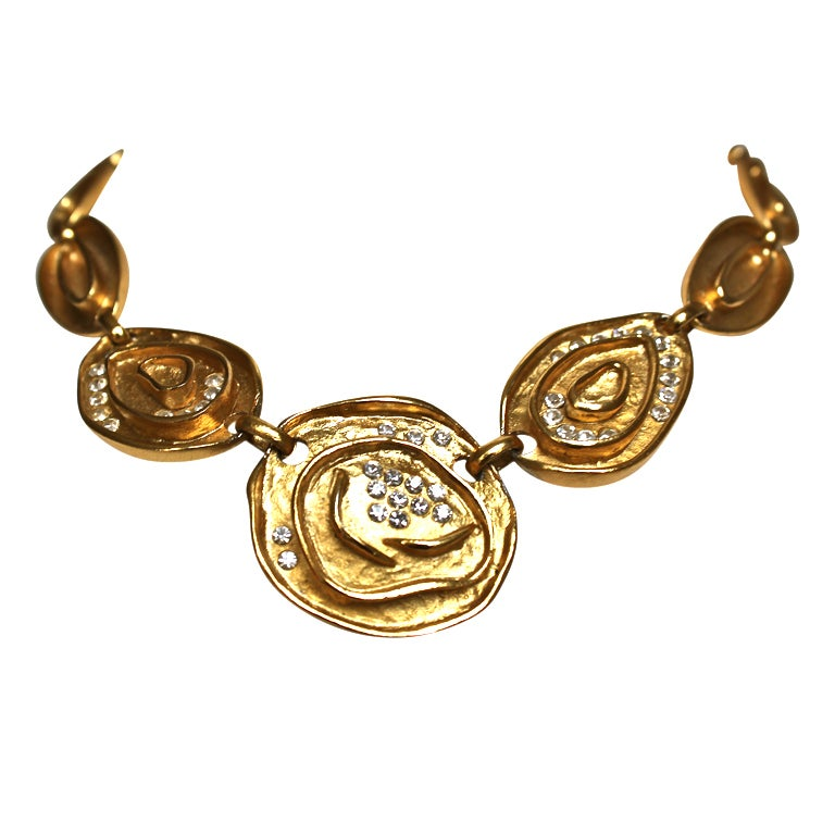 BALENCIAGA gilt necklace with glass crystals For Sale