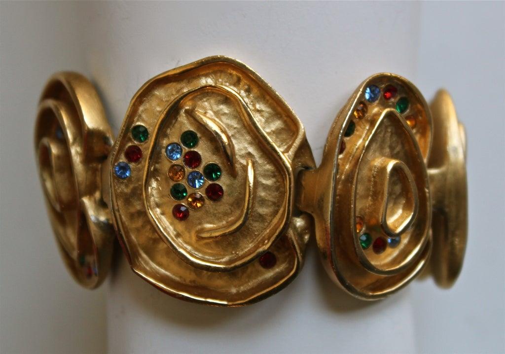 BALENCIAGA gilt bracelet with rhinestones 2
