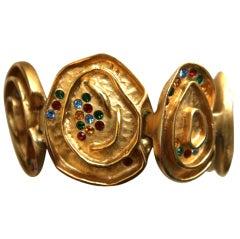 BALENCIAGA gilt bracelet with rhinestones