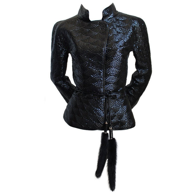 2004 TOM FORD/YVES SAINT LAURENT trapunto quilted leather jacket 1