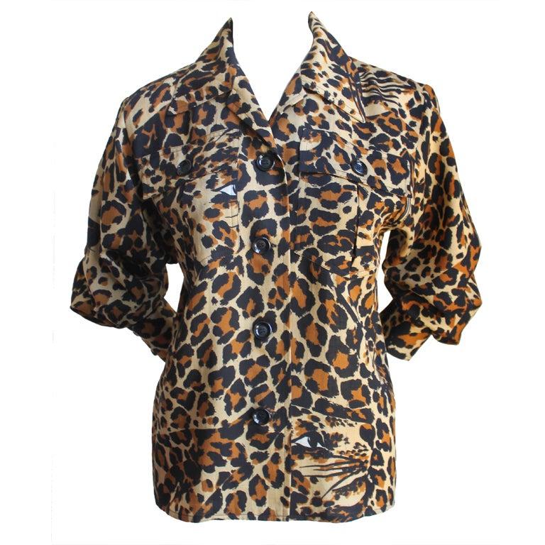 YVES SAINT LAURET wool leopard top