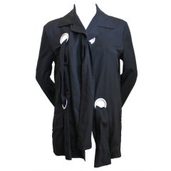 2004 YOHJI YAMAMOTO black runway jacket with large silver grommets